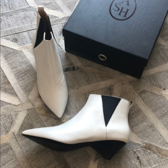 """3e7b93ef5 ASH """"Cosmos"""" white leather ankle boots."""